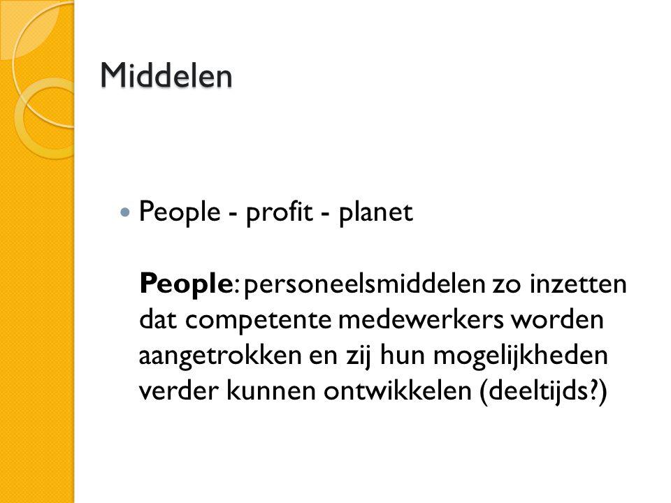 Middelen People - profit - planet People: personeelsmiddelen zo inzetten dat competente medewerkers worden aangetrokken en zij hun mogelijkheden verder kunnen ontwikkelen (deeltijds )