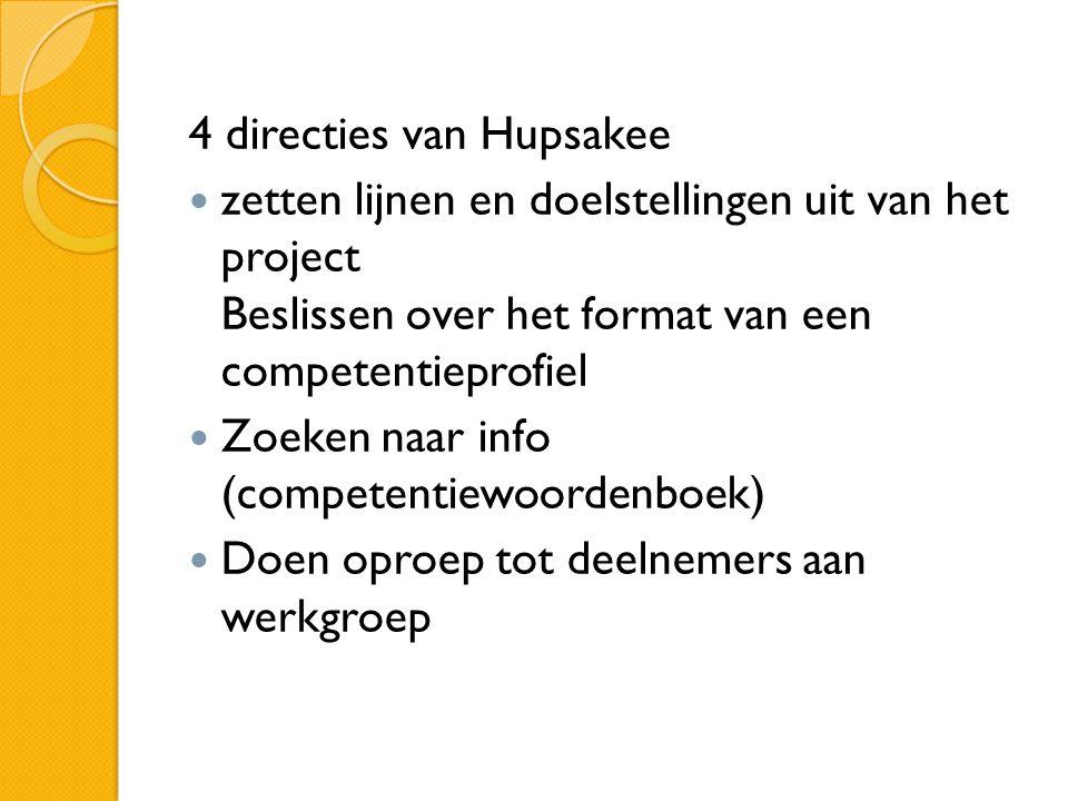 4 directies van Hupsakee zetten lijnen en doelstellingen uit van het project Beslissen over het format van een competentieprofiel Zoeken naar info (competentiewoordenboek) Doen oproep tot deelnemers aan werkgroep