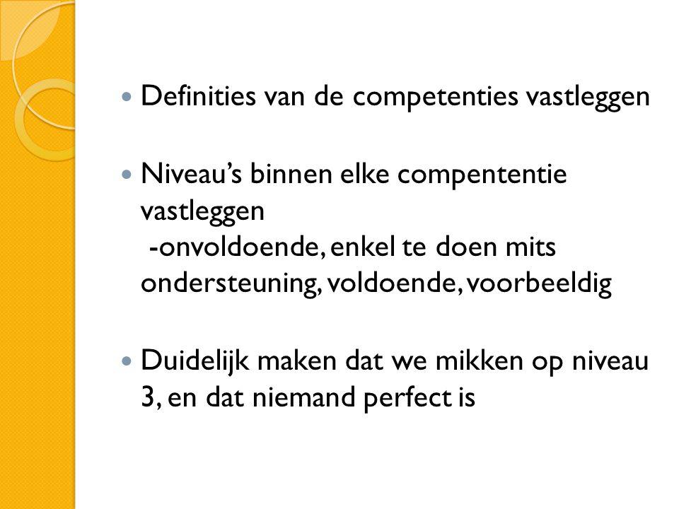 Definities van de competenties vastleggen Niveau's binnen elke compententie vastleggen -onvoldoende, enkel te doen mits ondersteuning, voldoende, voorbeeldig Duidelijk maken dat we mikken op niveau 3, en dat niemand perfect is
