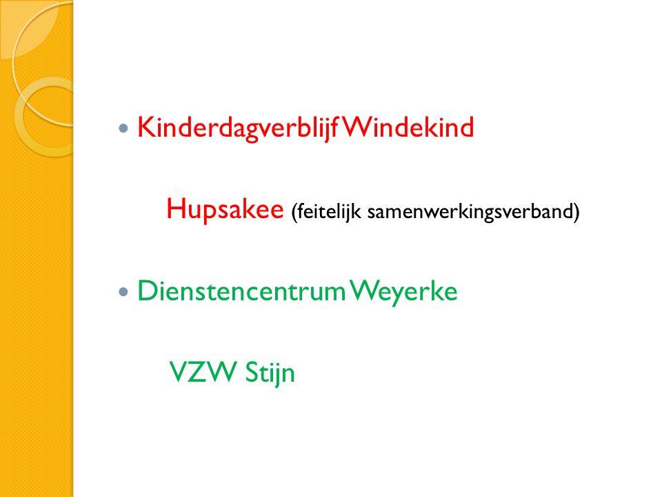 HUPSAKEE KDV Ter Duinen in Lommel (95 pl, 30 mdw) KDV Karbonkeltje in Overpelt (86 pl, 35 mdw) KDV Windekind in Heusden-Zolder (69 pl, 25 mdw) KDV Molleke in Mol (60 pl, 23 mdw) Totaal: 108 mdw