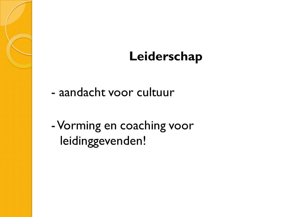 Leiderschap - aandacht voor cultuur - Vorming en coaching voor leidinggevenden!