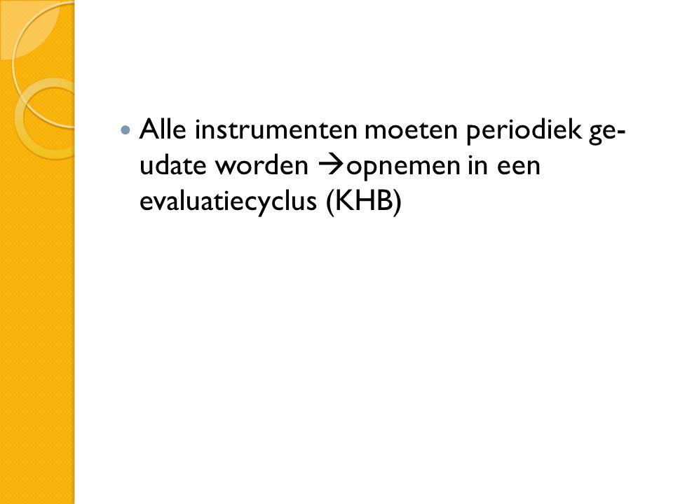 Alle instrumenten moeten periodiek ge- udate worden  opnemen in een evaluatiecyclus (KHB)
