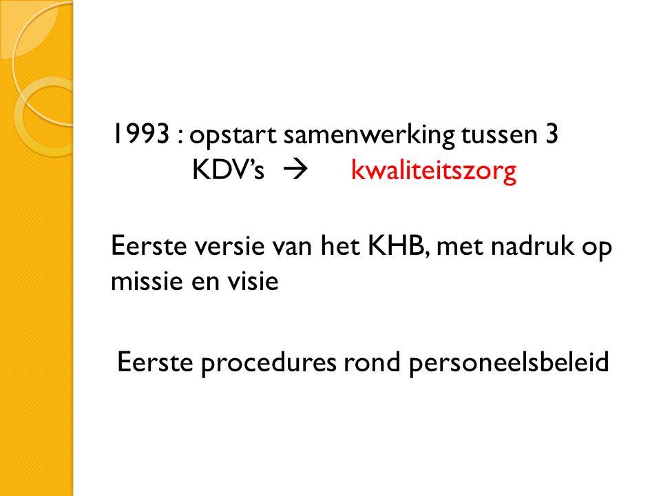 1993 : opstart samenwerking tussen 3 KDV's  kwaliteitszorg Eerste versie van het KHB, met nadruk op missie en visie Eerste procedures rond personeelsbeleid