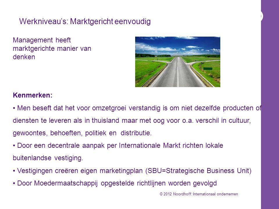 Werkniveau's: Marktgericht eenvoudig Kenmerken: Men beseft dat het voor omzetgroei verstandig is om niet dezelfde producten of diensten te leveren als in thuisland maar met oog voor o.a.
