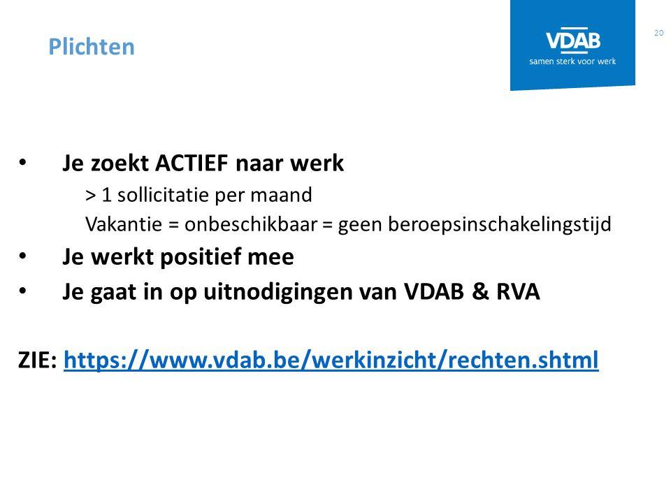 20 Je zoekt ACTIEF naar werk > 1 sollicitatie per maand Vakantie = onbeschikbaar = geen beroepsinschakelingstijd Je werkt positief mee Je gaat in op uitnodigingen van VDAB & RVA ZIE: https://www.vdab.be/werkinzicht/rechten.shtmlhttps://www.vdab.be/werkinzicht/rechten.shtml Plichten