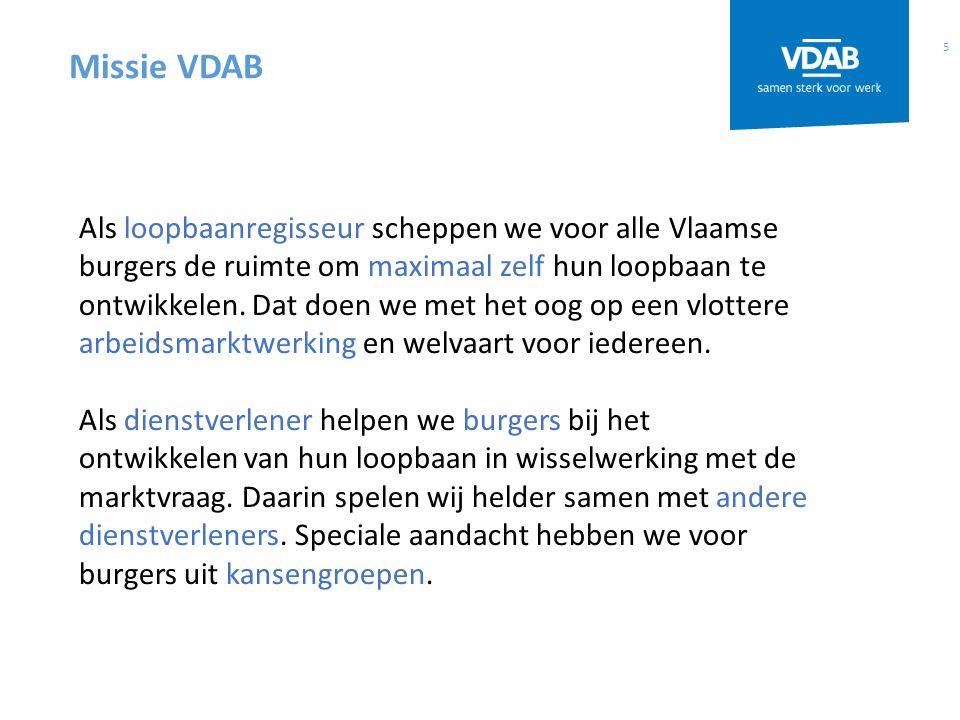 5 Missie VDAB Als loopbaanregisseur scheppen we voor alle Vlaamse burgers de ruimte om maximaal zelf hun loopbaan te ontwikkelen.