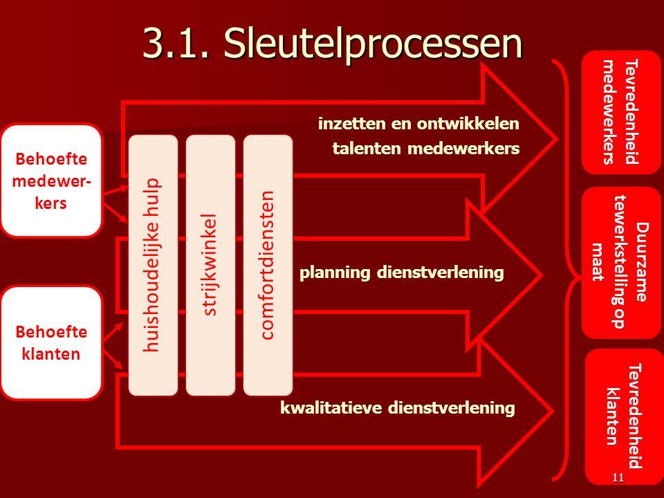 3.1. Sleutelprocessen inzetten en ontwikkelen talenten medewerkers Tevredenheid medewerkers Tevredenheid klanten Duurzame tewerkstelling op maat plann