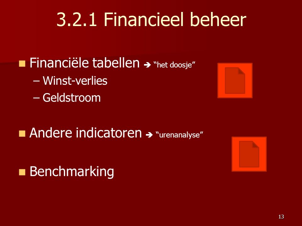 3.2.1 Financieel beheer Financiële tabellen  het doosje – –Winst-verlies – –Geldstroom Andere indicatoren  urenanalyse Benchmarking 13