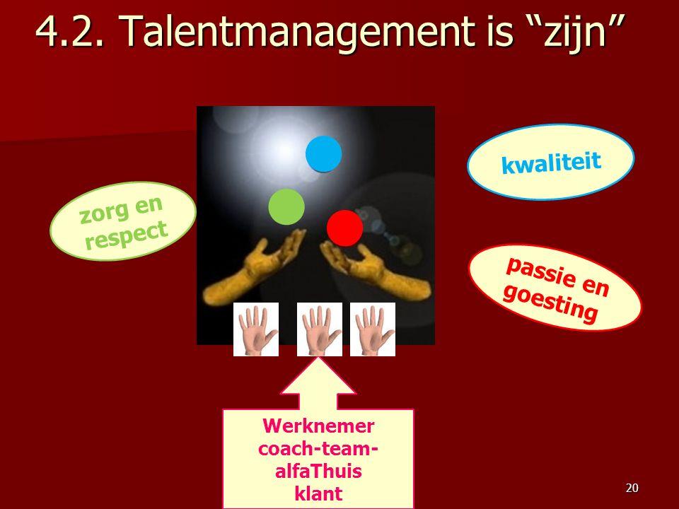 """Werknemer coach-team- alfaThuis klant passie en goesting zorg en respect kwaliteit 4.2. Talentmanagement is """"zijn"""" 20"""