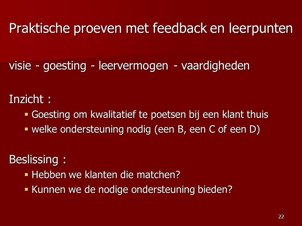 Praktische proeven met feedback en leerpunten visie - goesting - leervermogen - vaardigheden Inzicht :  Goesting om kwalitatief te poetsen bij een klant thuis  welke ondersteuning nodig (een B, een C of een D) Beslissing :  Hebben we klanten die matchen.