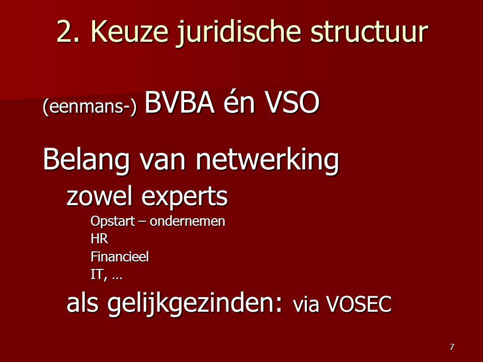 2. Keuze juridische structuur (eenmans-) BVBA én VSO Belang van netwerking zowel experts Opstart – ondernemen HRFinancieel IT, … als gelijkgezinden: v