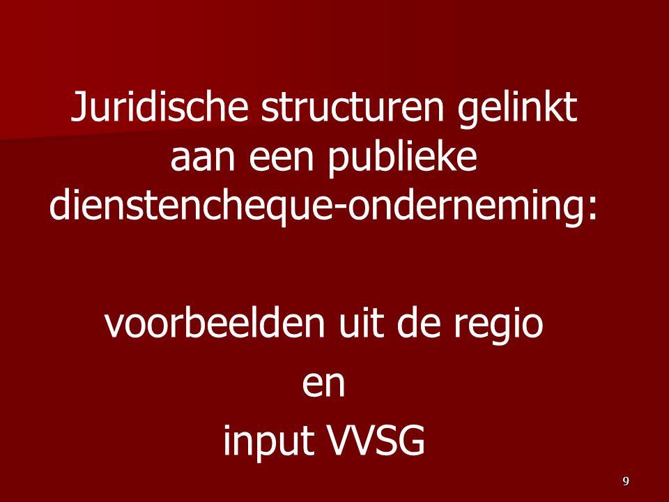 Juridische structuren gelinkt aan een publieke dienstencheque-onderneming: voorbeelden uit de regio en input VVSG 99