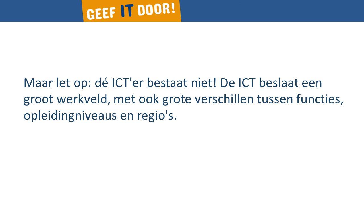 Maar let op: dé ICT er bestaat niet.