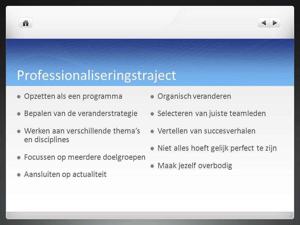 Professionaliseringstraject Opzetten als een programma Bepalen van de veranderstrategie Werken aan verschillende thema's en disciplines Focussen op me
