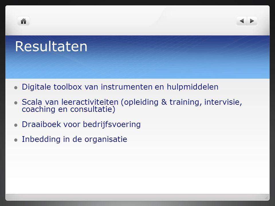 Resultaten Digitale toolbox van instrumenten en hulpmiddelen Scala van leeractiviteiten (opleiding & training, intervisie, coaching en consultatie) Draaiboek voor bedrijfsvoering Inbedding in de organisatie