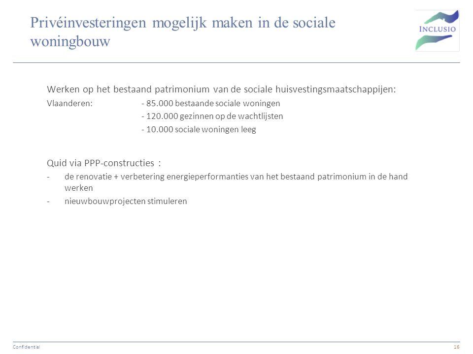 Privéinvesteringen mogelijk maken in de sociale woningbouw Werken op het bestaand patrimonium van de sociale huisvestingsmaatschappijen: Vlaanderen: -