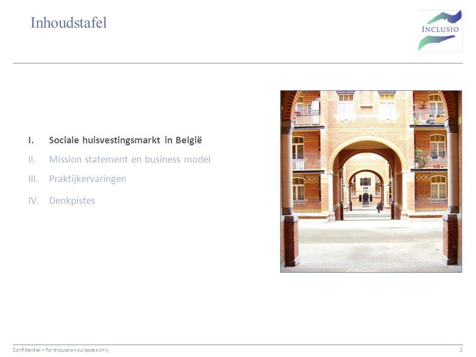 Inhoudstafel Vertrouwelijk13 I.Sociale huisvestingsmarkt in België II.Mission statement en business model III.Praktijkervaringen IV.Denkpistes