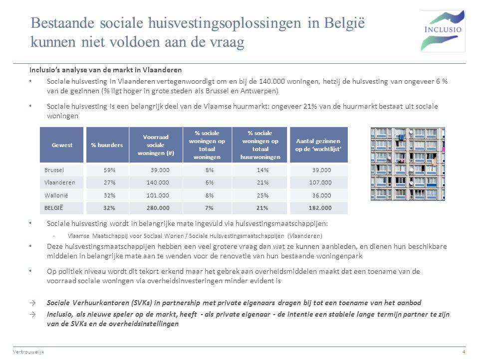 Bestaande sociale huisvestingsoplossingen in België kunnen niet voldoen aan de vraag Sociale huisvesting in Vlaanderen vertegenwoordigt om en bij de 1