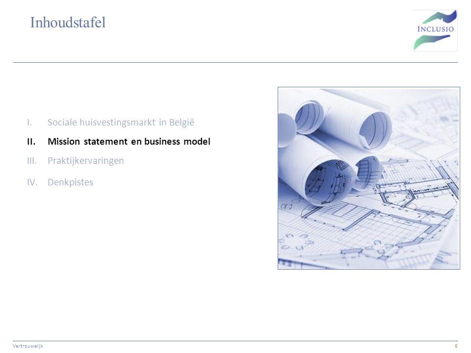 Inhoudstafel Vertrouwelijk6 I.Sociale huisvestingsmarkt in België II.Mission statement en business model III.Praktijkervaringen IV.Denkpistes