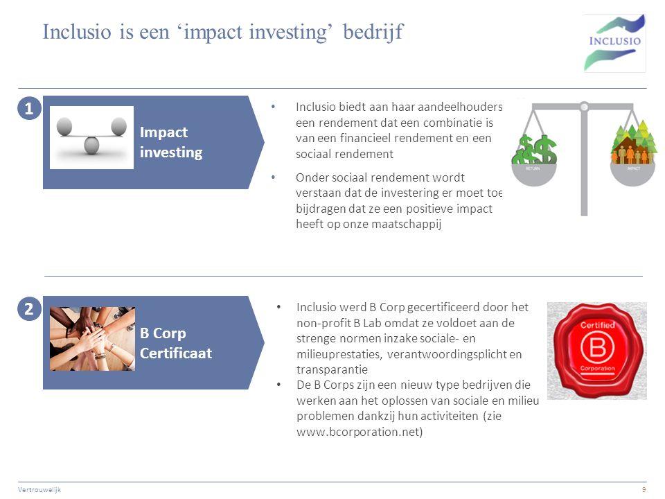 Inclusio is een 'impact investing' bedrijf Vertrouwelijk9 Inclusio biedt aan haar aandeelhouders een rendement dat een combinatie is van een financieel rendement en een sociaal rendement Onder sociaal rendement wordt verstaan dat de investering er moet toe bijdragen dat ze een positieve impact heeft op onze maatschappij 1 Impact investing 2 B Corp Certificaat Inclusio werd B Corp gecertificeerd door het non-profit B Lab omdat ze voldoet aan de strenge normen inzake sociale- en milieuprestaties, verantwoordingsplicht en transparantie De B Corps zijn een nieuw type bedrijven die werken aan het oplossen van sociale en milieu problemen dankzij hun activiteiten (zie www.bcorporation.net)