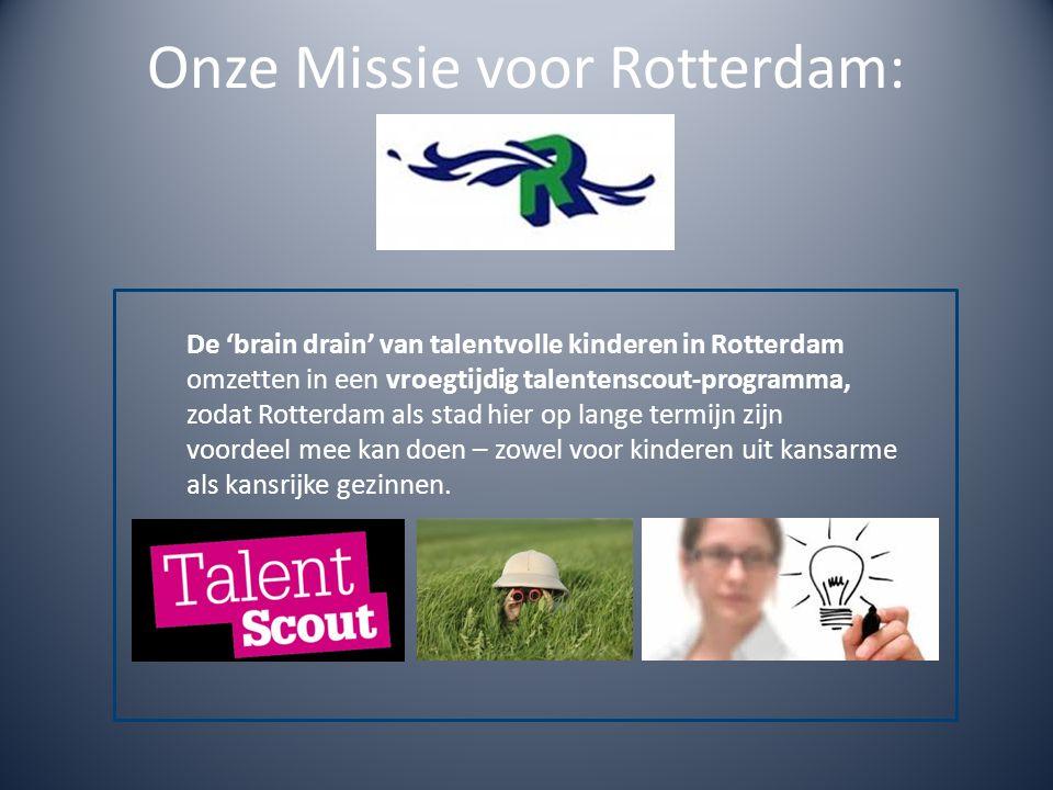 Onze Missie voor Rotterdam: De 'brain drain' van talentvolle kinderen in Rotterdam omzetten in een vroegtijdig talentenscout-programma, zodat Rotterdam als stad hier op lange termijn zijn voordeel mee kan doen – zowel voor kinderen uit kansarme als kansrijke gezinnen.