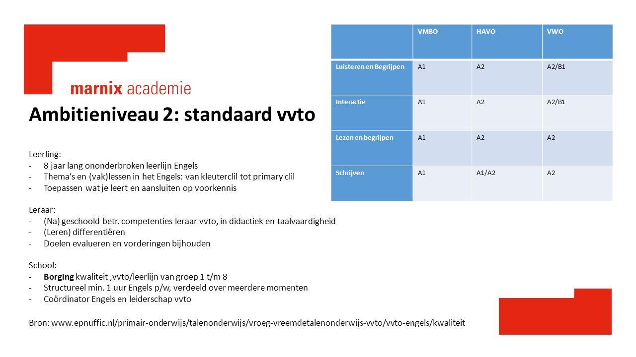 Ambitieniveau 2: standaard vvto Leerling: -8 jaar lang ononderbroken leerlijn Engels -Thema's en (vak)lessen in het Engels: van kleuterclil tot primar