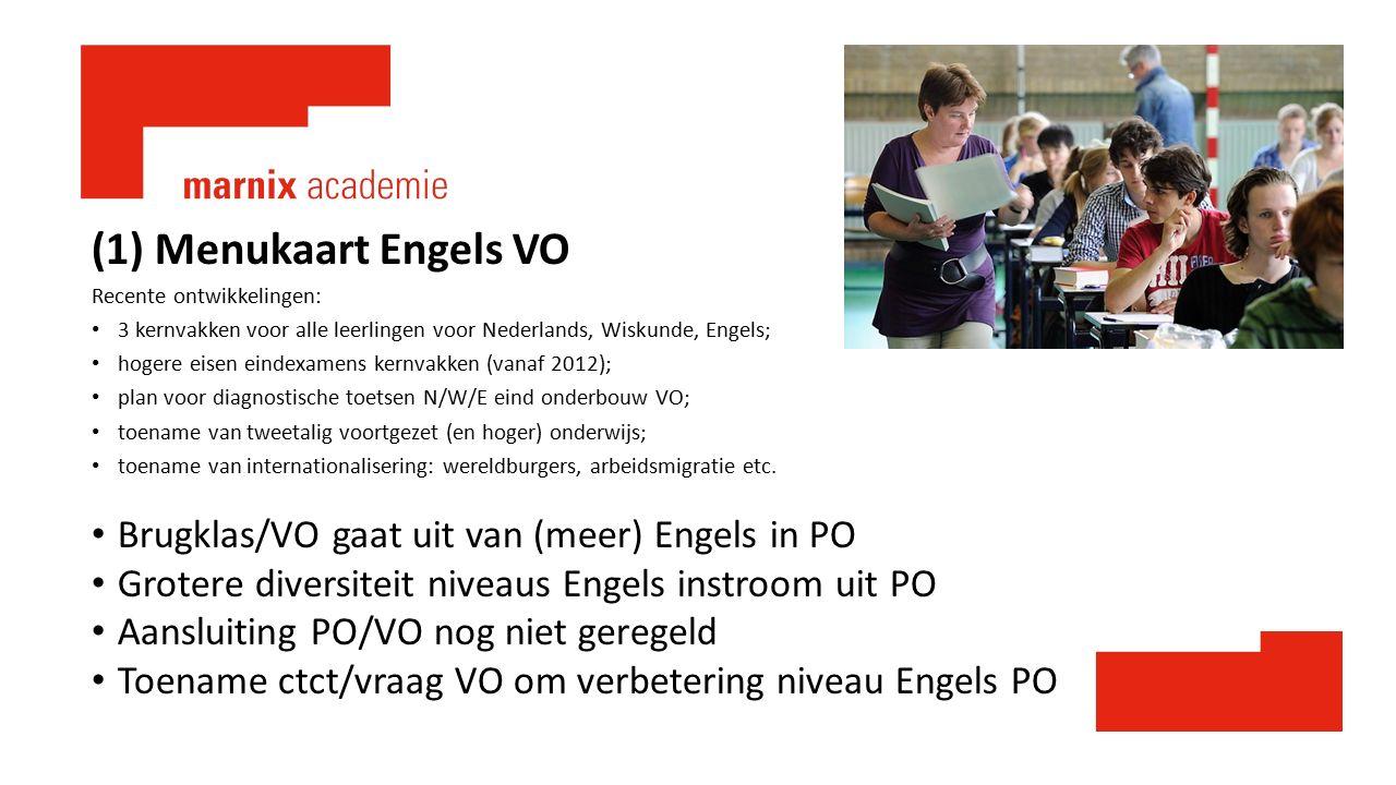 (1) Menukaart Engels VO Recente ontwikkelingen: 3 kernvakken voor alle leerlingen voor Nederlands, Wiskunde, Engels; hogere eisen eindexamens kernvakk