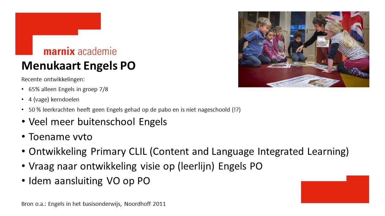 Menukaart Engels PO Recente ontwikkelingen: 65% alleen Engels in groep 7/8 4 (vage) kerndoelen 50 % leerkrachten heeft geen Engels gehad op de pabo en