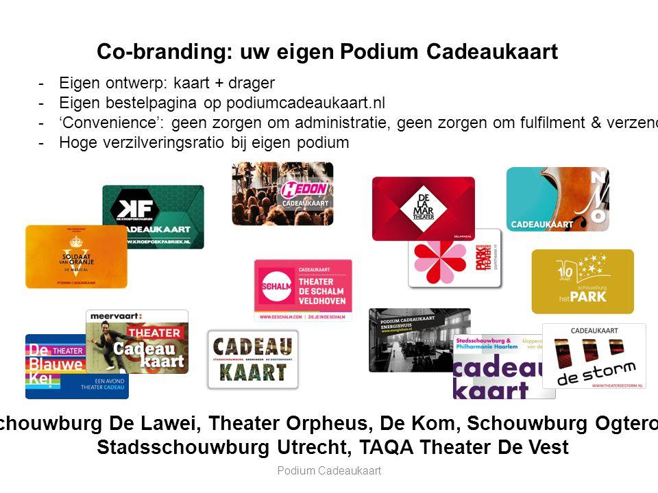 Podium Cadeaukaart Co-branding: uw eigen Podium Cadeaukaart -Eigen ontwerp: kaart + drager -Eigen bestelpagina op podiumcadeaukaart.nl -'Convenience': geen zorgen om administratie, geen zorgen om fulfilment & verzending -Hoge verzilveringsratio bij eigen podium Schouwburg De Lawei, Theater Orpheus, De Kom, Schouwburg Ogterop, Stadsschouwburg Utrecht, TAQA Theater De Vest