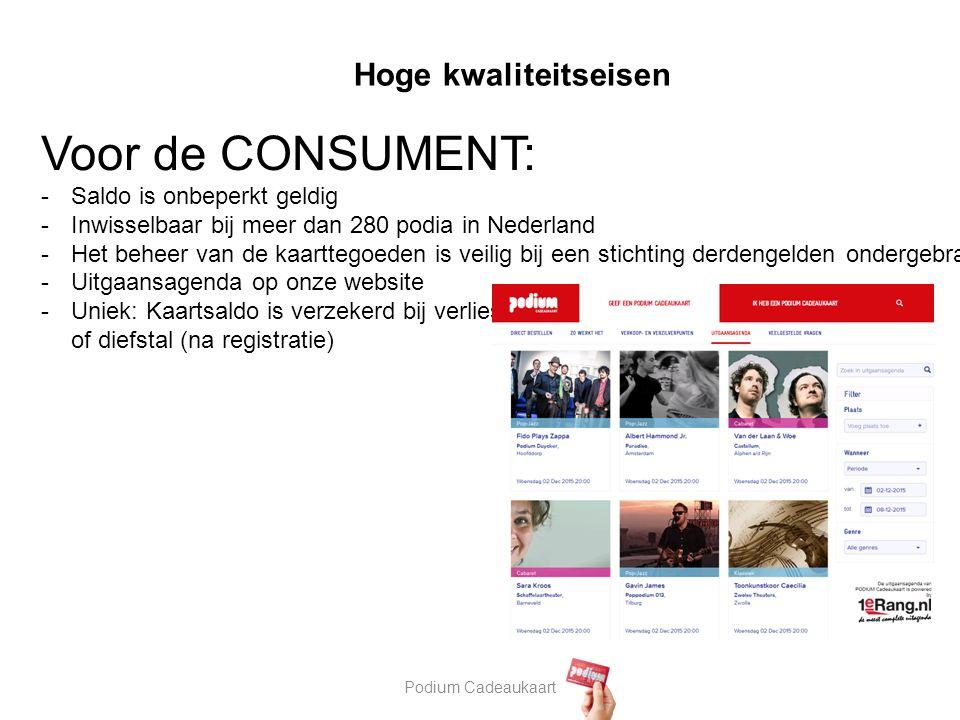 Podium Cadeaukaart Hoge kwaliteitseisen Voor de CONSUMENT: -Saldo is onbeperkt geldig -Inwisselbaar bij meer dan 280 podia in Nederland -Het beheer van de kaarttegoeden is veilig bij een stichting derdengelden ondergebracht -Uitgaansagenda op onze website -Uniek: Kaartsaldo is verzekerd bij verlies of diefstal (na registratie)