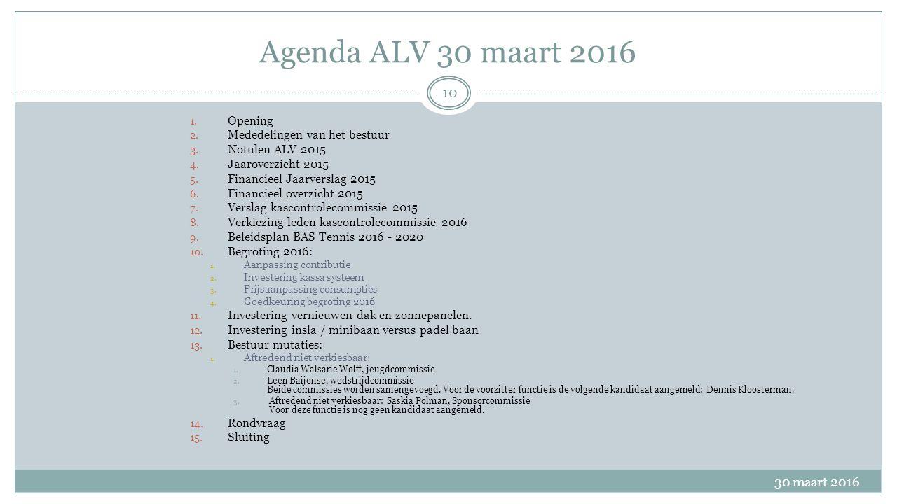 Agenda ALV 30 maart 2016 30 maart 2016 10 1. Opening 2.