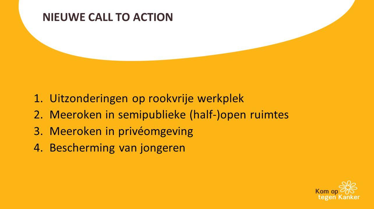 NIEUWE CALL TO ACTION 1.Uitzonderingen op rookvrije werkplek 2.Meeroken in semipublieke (half-)open ruimtes 3.Meeroken in privéomgeving 4.Bescherming van jongeren