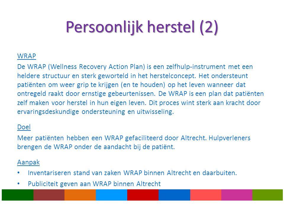 Persoonlijk herstel (2) WRAP De WRAP (Wellness Recovery Action Plan) is een zelfhulp-instrument met een heldere structuur en sterk geworteld in het herstelconcept.