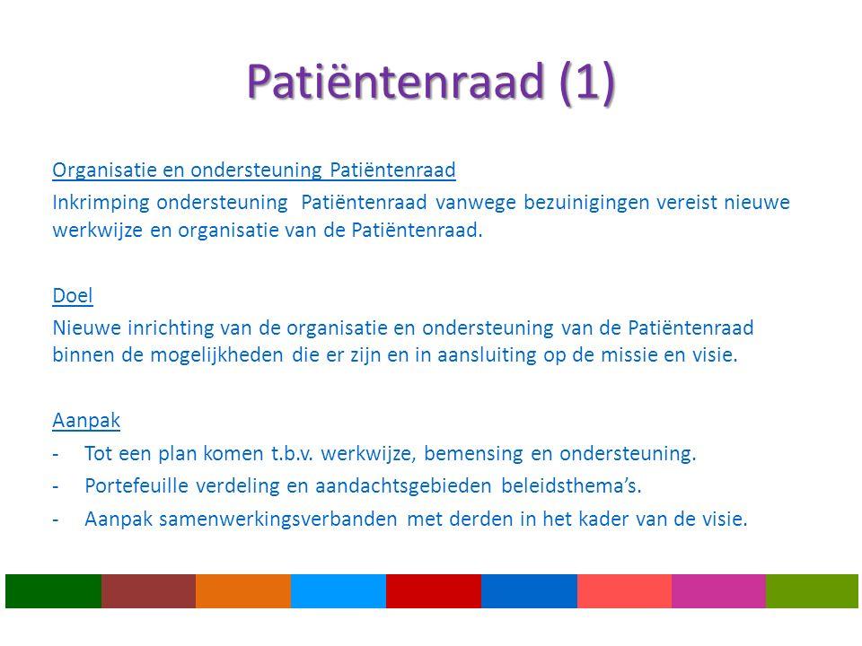 Patiëntenraad (1) Organisatie en ondersteuning Patiëntenraad Inkrimping ondersteuning Patiëntenraad vanwege bezuinigingen vereist nieuwe werkwijze en organisatie van de Patiëntenraad.