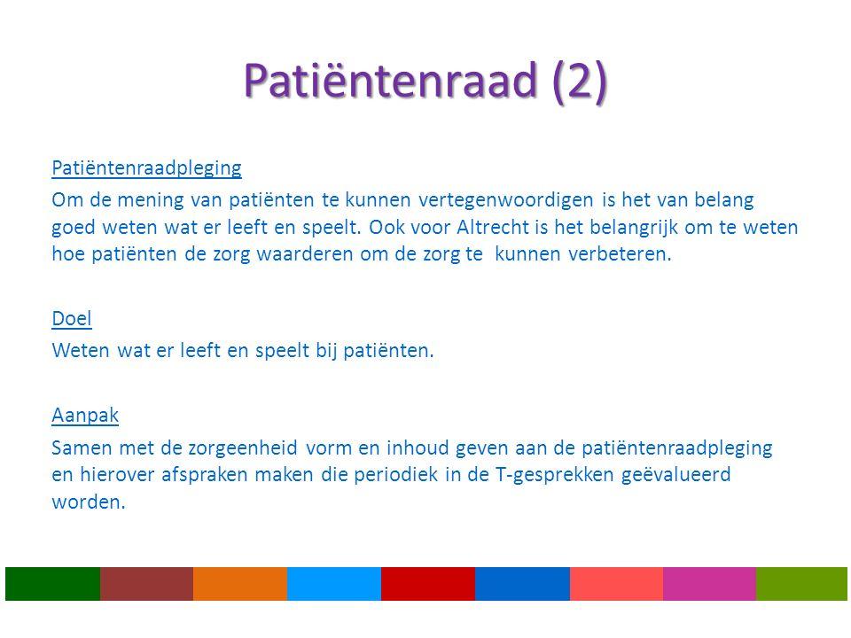 Patiëntenraad (2) Patiëntenraadpleging Om de mening van patiënten te kunnen vertegenwoordigen is het van belang goed weten wat er leeft en speelt.