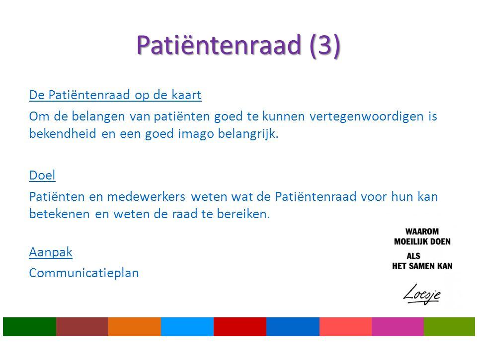 Patiëntenraad (3) De Patiëntenraad op de kaart Om de belangen van patiënten goed te kunnen vertegenwoordigen is bekendheid en een goed imago belangrijk.