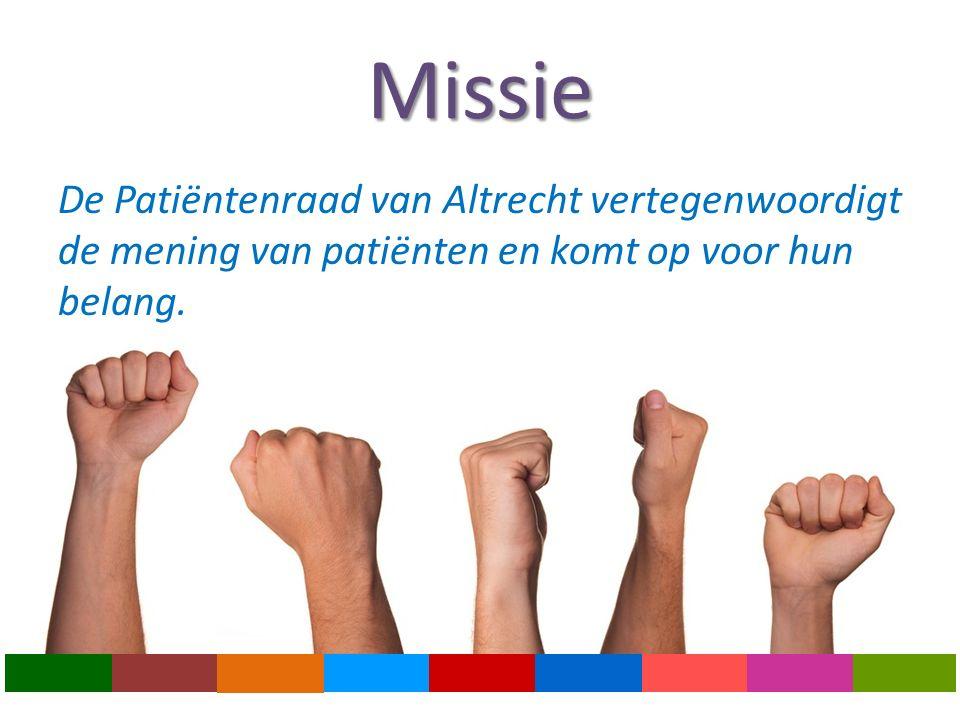 Missie De Patiëntenraad van Altrecht vertegenwoordigt de mening van patiënten en komt op voor hun belang.