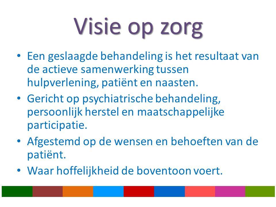 Visie op zorg Een geslaagde behandeling is het resultaat van de actieve samenwerking tussen hulpverlening, patiënt en naasten.