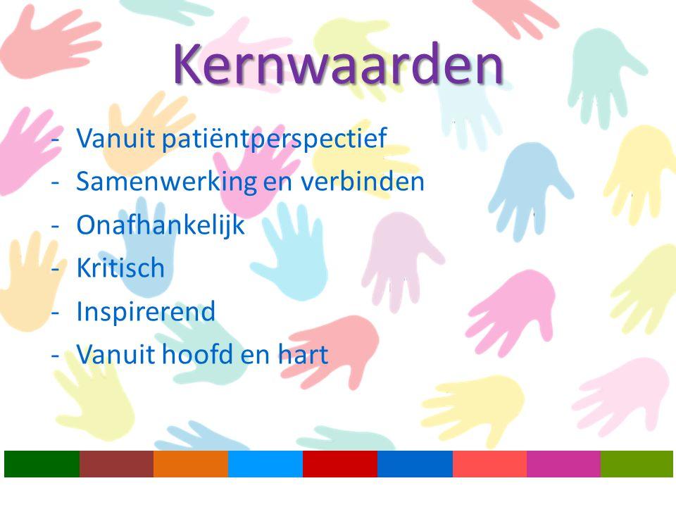 -Vanuit patiëntperspectief -Samenwerking en verbinden -Onafhankelijk -Kritisch -Inspirerend -Vanuit hoofd en hart Kernwaarden