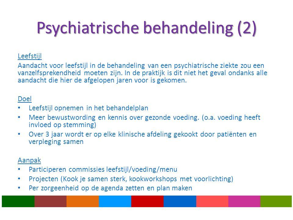 Psychiatrische behandeling (2) Leefstijl Aandacht voor leefstijl in de behandeling van een psychiatrische ziekte zou een vanzelfsprekendheid moeten zijn.
