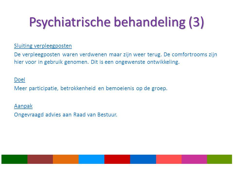 Psychiatrische behandeling (3) Sluiting verpleegposten De verpleegposten waren verdwenen maar zijn weer terug.
