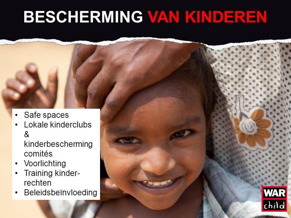 BESCHERMING VAN KINDEREN Safe spaces Lokale kinderclubs & kinderbescherming comités Voorlichting Training kinder- rechten Beleidsbeïnvloeding