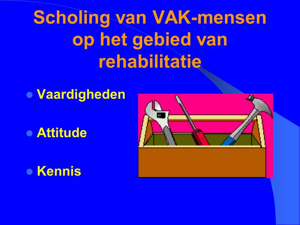 Scholing van VAK-mensen op het gebied van rehabilitatie Vaardigheden Attitude Kennis