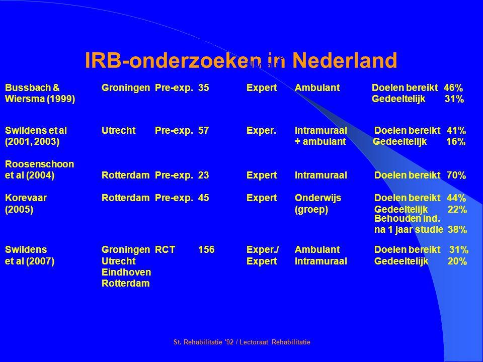 St. Rehabilitatie '92 / Lectoraat Rehabilitatie IRB-onderzoeken in Nederland Onderzoeker(s)Locatie DesignGroep (n)GevolgdeOmgeving Resultaten Training
