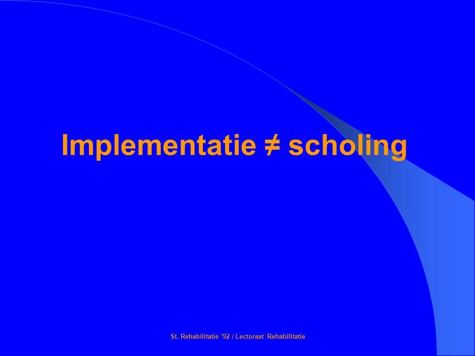 St. Rehabilitatie '92 / Lectoraat Rehabilitatie Implementatie ≠ scholing