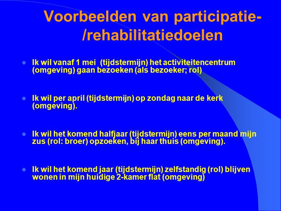 Voorbeelden van participatie- /rehabilitatiedoelen Ik wil vanaf 1 mei (tijdstermijn) het activiteitencentrum (omgeving) gaan bezoeken (als bezoeker; rol) Ik wil per april (tijdstermijn) op zondag naar de kerk (omgeving).
