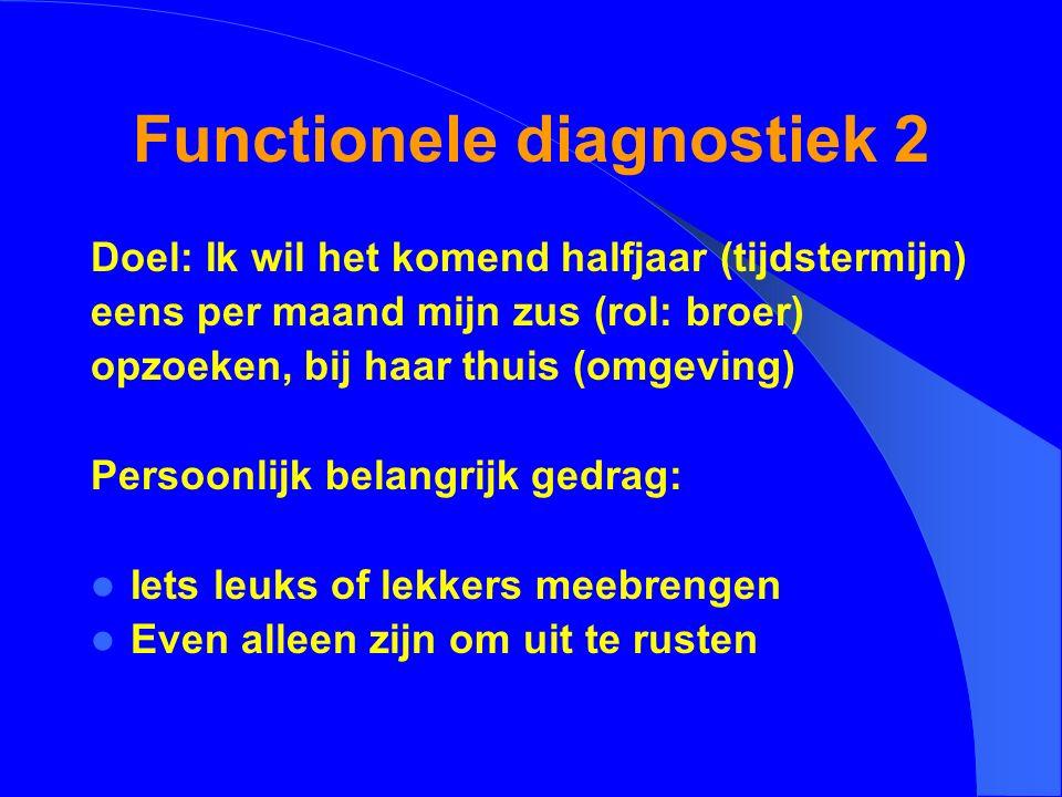 Functionele diagnostiek 2 Doel: Ik wil het komend halfjaar (tijdstermijn) eens per maand mijn zus (rol: broer) opzoeken, bij haar thuis (omgeving) Per