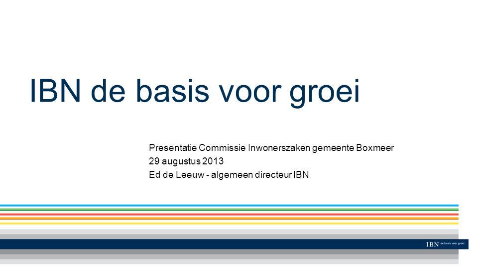 IBN de basis voor groei Presentatie Commissie Inwonerszaken gemeente Boxmeer 29 augustus 2013 Ed de Leeuw - algemeen directeur IBN