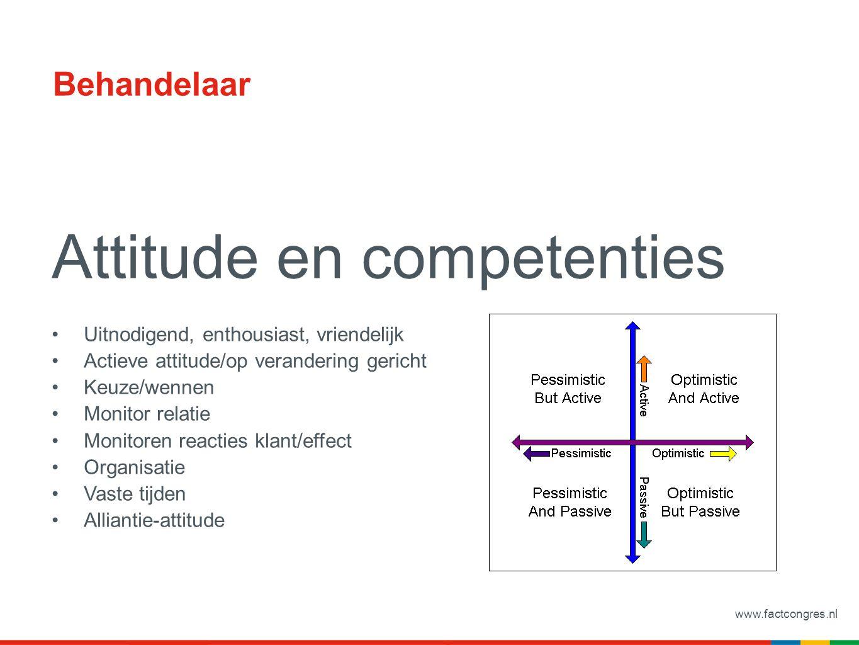 www.factcongres.nl Behandelaar Attitude en competenties Uitnodigend, enthousiast, vriendelijk Actieve attitude/op verandering gericht Keuze/wennen Mon