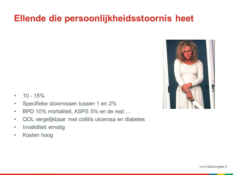 Ellende die persoonlijkheidsstoornis heet 10 - 15% Specifieke stoornissen tussen 1 en 2% BPD 10% mortaliteit, ASPS 5% en de rest … QOL vergelijkbaar met collitis ulcerosa en diabetes Invaliditeit ernstig Kosten hoog